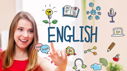 English concept with young woman