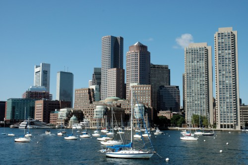 Boston skylines and sailboats on Charles river, Boston Mass